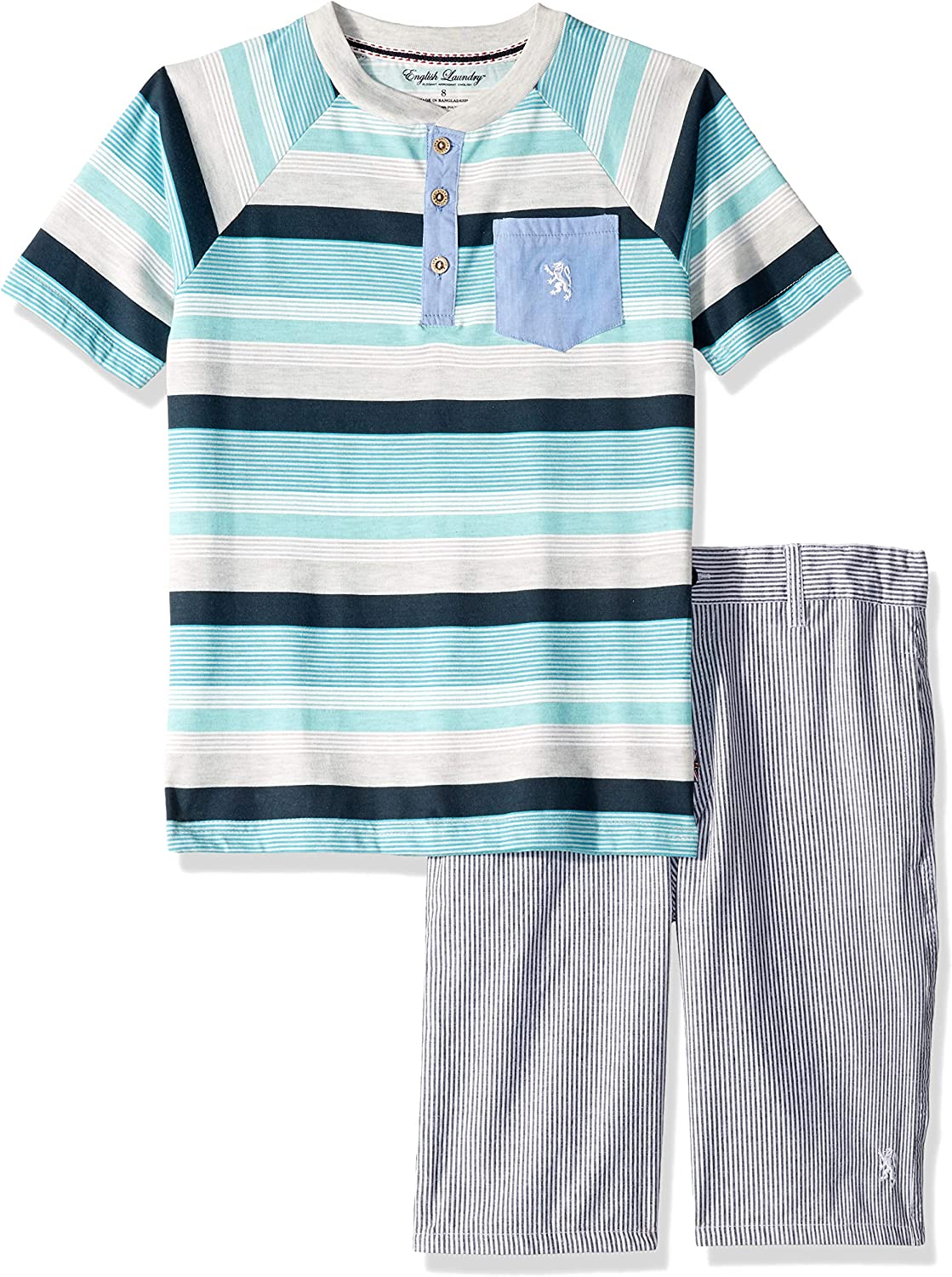 English Laundry Boys Sleeve Striped Henley T-Shirt and Short Set