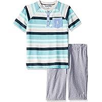 English Laundry Boys Short Sleeve Striped Henley T-Shirt and Short Set Shorts Set