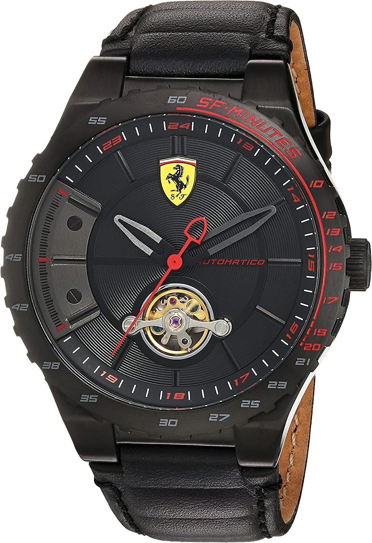 Scuderia Ferrari Men's Stainless Steel Mechanical-Hand-Wind Watch with Leather Calfskin Strap, Black, 16 (Model: 830366)