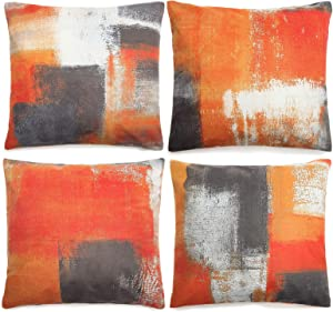 Throw Pillow Covers Set of 4, Decorative Pillow Covers 18x18, Modern Abstract Cushion Cover Square Double Sided Printing Outdoor Pillow Cases for Couch Sofa Bedroom Living Room Farmhouse Decor, Orange