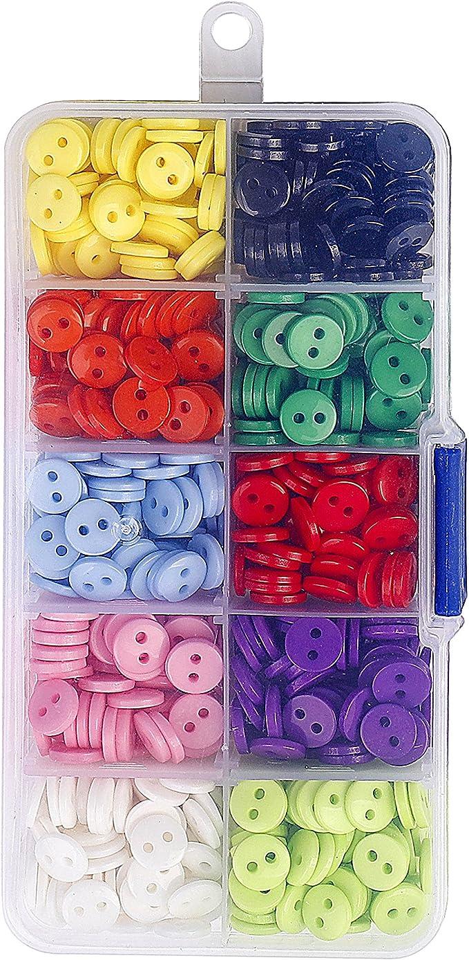 con alambre plateado para manualidades y manualidades 600 botones de resina de colores surtidos de metal de PUDSIRN de pl/ástico redondo para manualidades