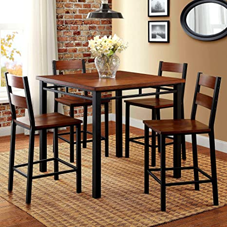 Amazon.com - 5pc Dining Set 4 Seats Chairs & Square Table ...