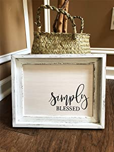 Parisloft Simply Blessed Wood Wall Framed Sign White Wood Wall Decor 12x10 inch