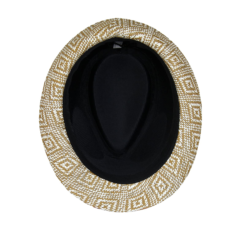 Woven Diamond Pattern Trilby Hat with Lining Boho Geometric Design Straw Fedora