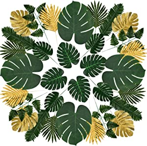 St !GIANTMAN 60pcs 8 Types Artificial Palm Leaves Tropical Faux Monstera Leaves with Stems Tropical Leaves for Jungle Theme Party Hawaiian Luau Party Balloon Decorations