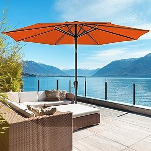 ROWHY 9ft Patio Umbrella Outdoor Table Umbrella Patio Market Umbrella with Push Button Tilt and Crank 8 Ribs for Garden, Lawn, Deck, Backyard & Pool, Orange