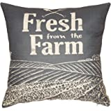 """Fjfz Farmhouse Vintage Fresh From The Farm Quote Cotton Linen Home Decorative Throw Pillow Case Cushion Cover Sofa Couch, Dark Gray, 18"""" x 18"""""""
