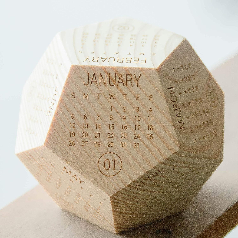 12 Sided Calendar 2021, New Year Employee Gifts, Wood Calendar 2021, Wood Texture Desk Calendar, Presents for Boss, Box Calendar, Best Creative Gift Ideas, Office Decor Gift