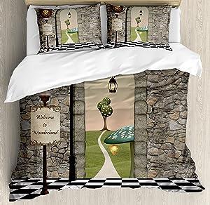 Ambesonne Alice in Wonderland Duvet Cover Set, Welcome Wonderland Black and White Floor Landscape Mushroom Lantern, Decorative 3 Piece Bedding Set with 2 Pillow Shams, Queen Size, Black Green