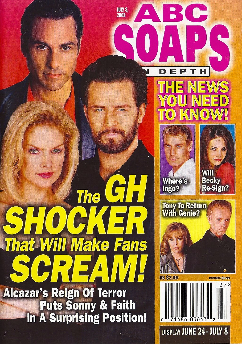 Maurice Benard Ted King Cynthia Preston General Hospital Geoffrey Wigdor Interview Andrew St John Matt Hunter July 8 2003 Abc Soap Sin Depth Magazine Soap Opera Heinrich Bauer Publishing L P Amazon Com Books