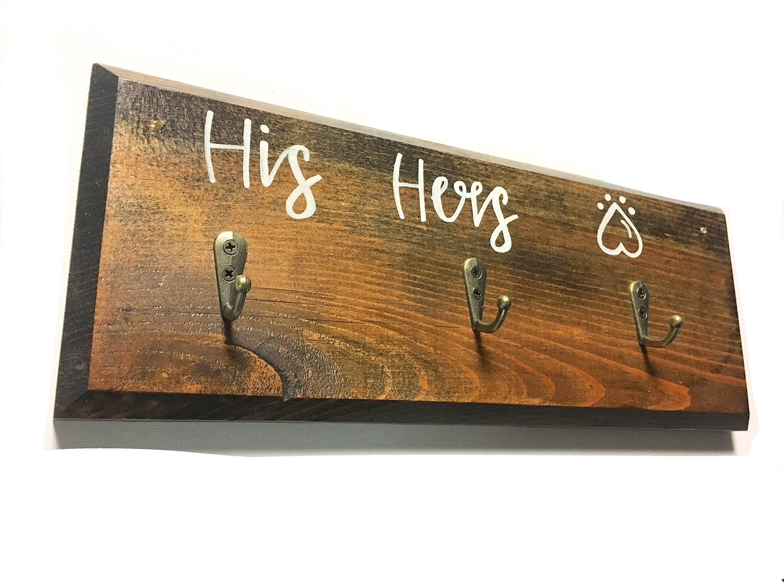 Key Holder and Dog Leash Hanger, His and Hers and Puppy paw, Dog lovers gift.