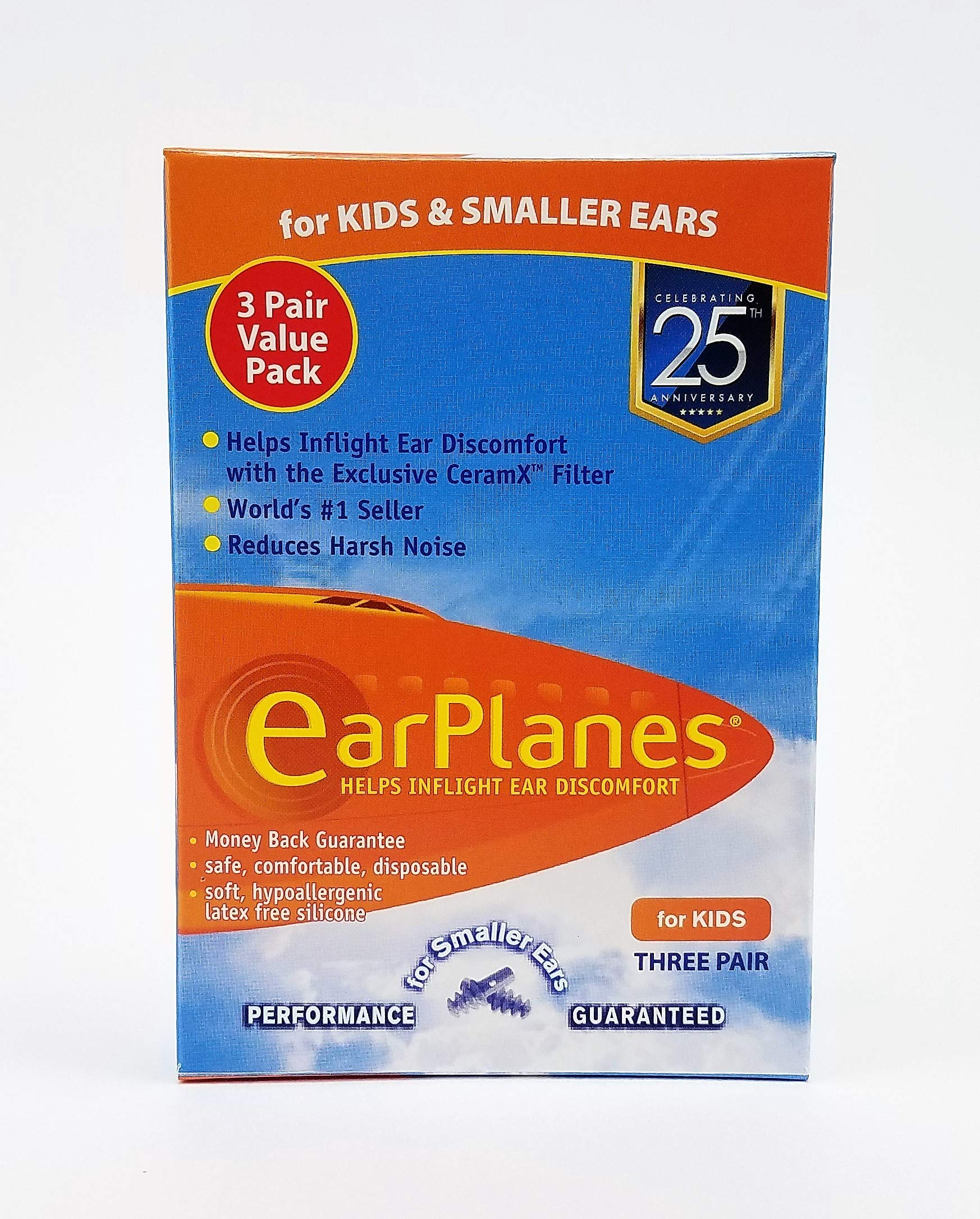 Original Children's EarPlanes by Cirrus Healthcare Ear Plugs Airplane Travel Ear Protection 3 Pair BONUS VALUE PACK by Earplanes (Image #1)