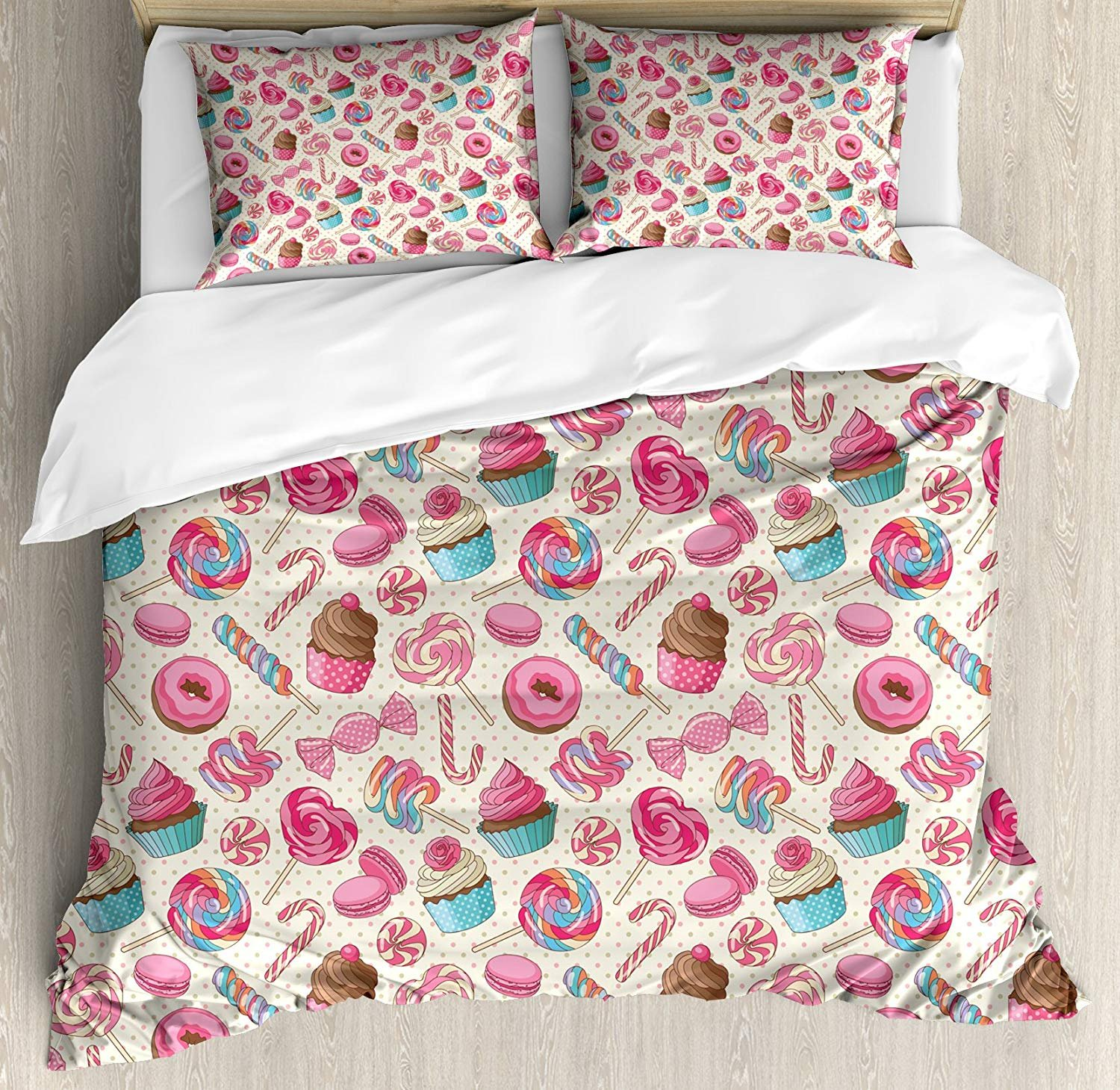 WAZZIT 4 Piece Duvet Cover Set King Candy Cane Yummy Sweet Lollipop Candy Macaroon Cupcake and Donut on Polka Dots Pattern Print Bedding Set with Zipper Closure Matching 2 Pillow Shams by WAZZIT