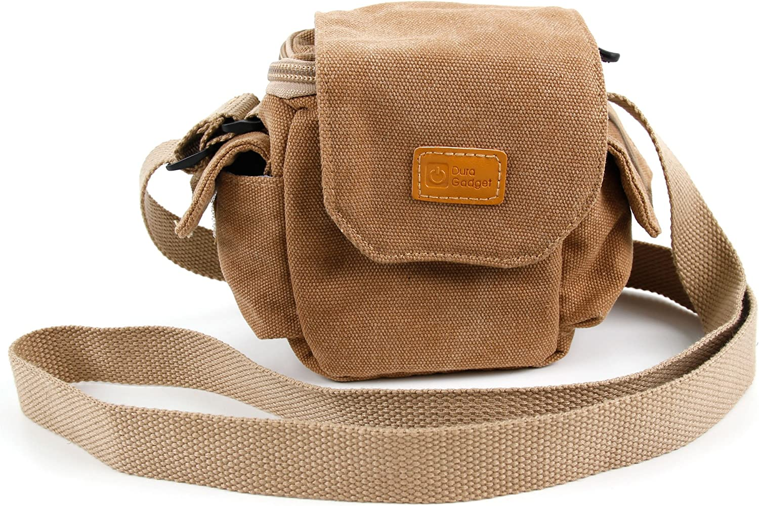 DURAGADGET Tan-Brown Small Sized Canvas Carry Bag with Customizable Interior Storage Compartment /& Adjustable Shoulder Strap Compatible with The TEC.Bean X902 BlackWidow Mini RC Quadcopter