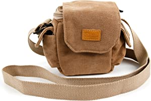 DURAGADGET Light Brown Small Sized Vintage Canvas Carry Bag - Compatible with The MAISI 2K Extreme HD Pro 1296P Car Dash Camera