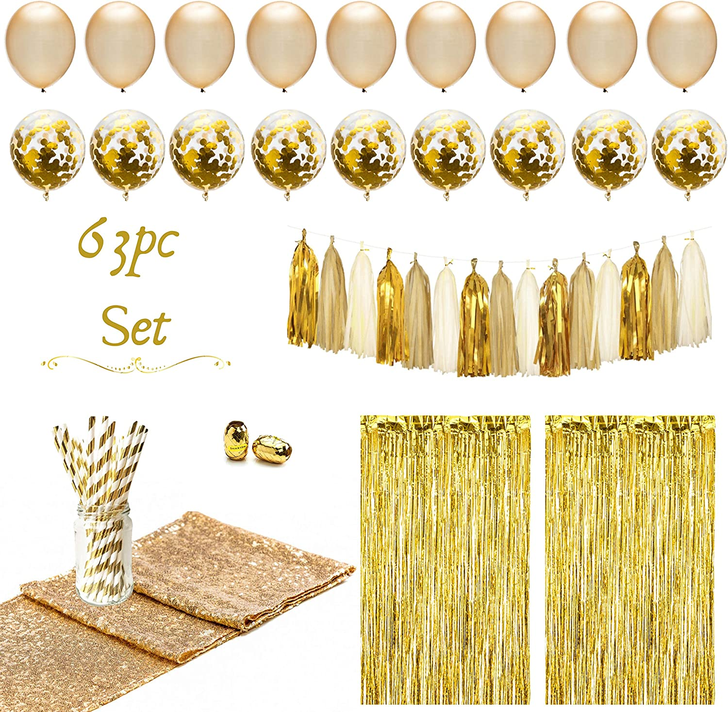 Artunique 63pc Gold Party Decorations | Gold Party Supplies for Bachelorette Party Decorations and Birthday Party Decorations With Gold Balloons, Tassle Garland, Fringe Curtains, Table Runner, Straws
