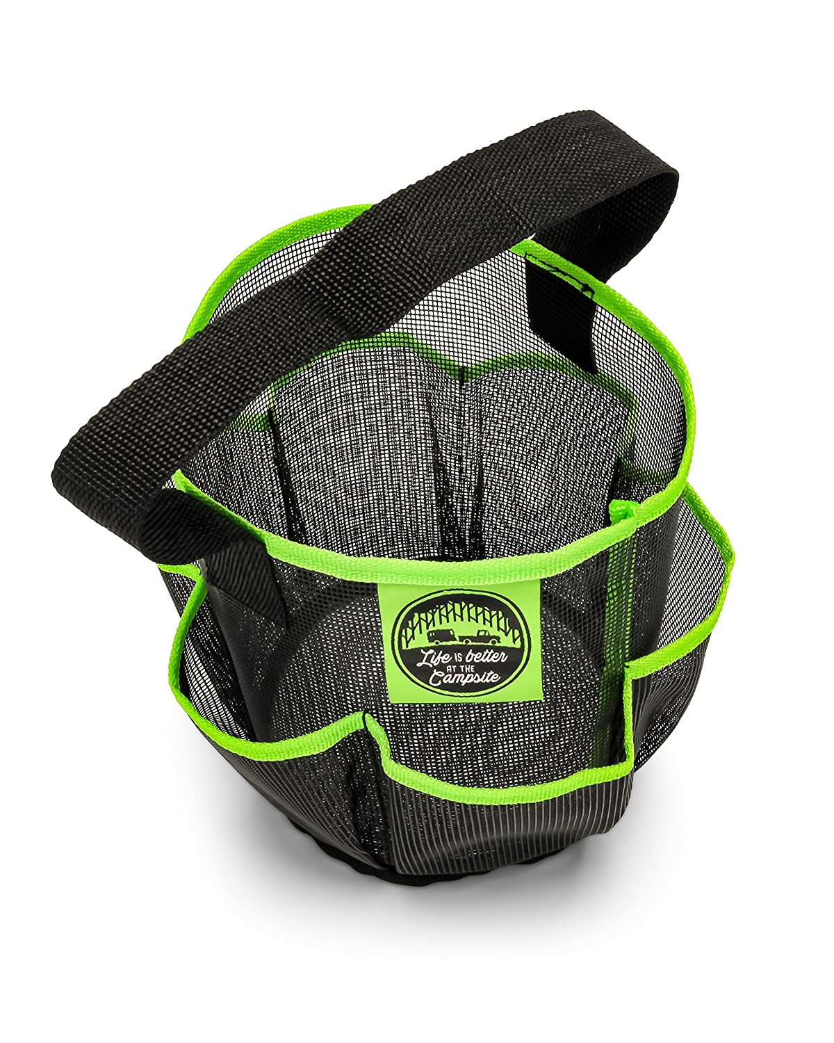 Gym Camco Mesh Shower Caddy Organizer Tote with Pockets and Carry Handle 51997 Dries Quick Organize Bathroom Toiletries and Products- Black Perfect for Dorms the Beach and Travel Camping
