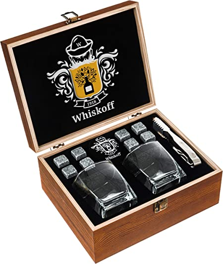Whiskey Glass Set of 2 – Whiskey Stones Gift Set – Scotch Bourbon Glasses – Whisky Rocks Chilling Stones in Wooden Box – Burbon Gift Set Idea for Wisky Lovers Men Rocks Glasses Stone Set in Gift Box