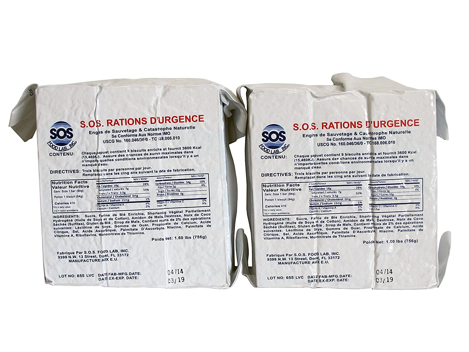 S.O.S. Rations Emergency 3600 Calorie Food Bar - 3 Day / 72 Hour Package with 5 Year Shelf Life 2 pack 1.6 lbs SOS Food Labs Inc.