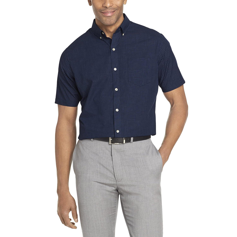 Van Heusen Mens Wrinkle Free Short Sleeve Button Down Twill Shirt Button Down Shirt