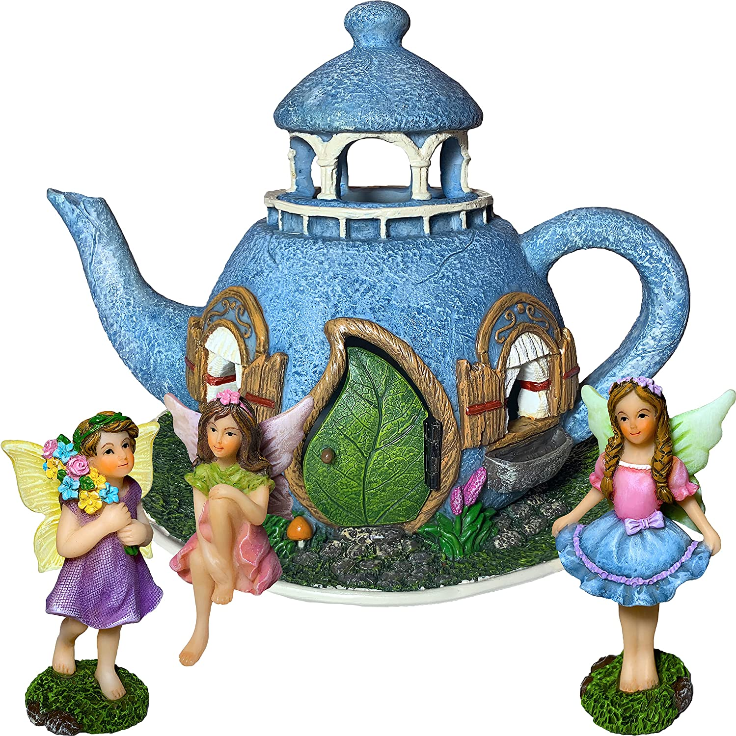 Mood Lab Fairy Garden Miniature Teapot House Kit - Figurines and Accessories Set of 4 pcs