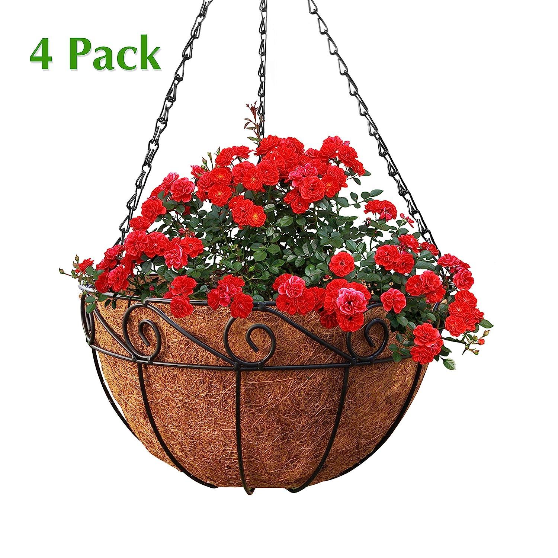 Truedays 4 -10 Pack Metal Iron Flower Pot Vase Wall Fence Hanging Balcony Garden Patio Planter Home Decor