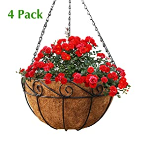 GrayBunny GB-6907A4 4 Pack, Metal Hanging Planter Basket with Coco Liner, 14 in Diameter, Hanging Flower Pot, Round Wire Plant Holder, Watering Basket, Chain Porch Decor, For Lawn, Patio, Garden, Deck