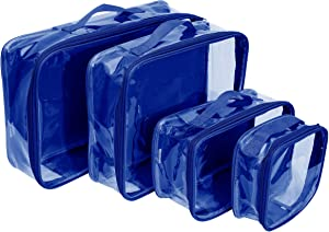 Clear Travel Packing Cubes Set of 4 for Carry On (XS, Small, Medium, Large) / See-Through Clothes Organizer Dividers for Suitcase/Transparent Vinyl PVC Cell Pouches for Luggage (Royal Blue)