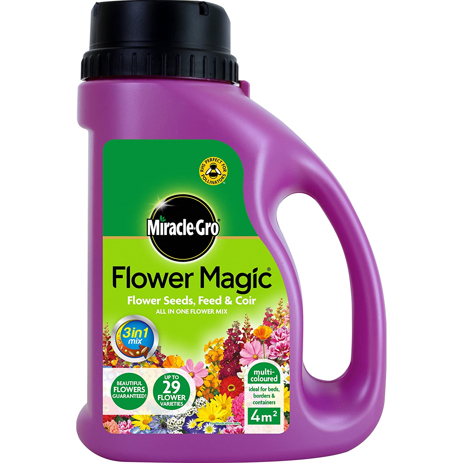Miracle-Gro 1kg Flower Magic Flower Seeds with Feed and Coir Mix Jug (Multi-coloured) Evergreen Garden Care Ltd 018005
