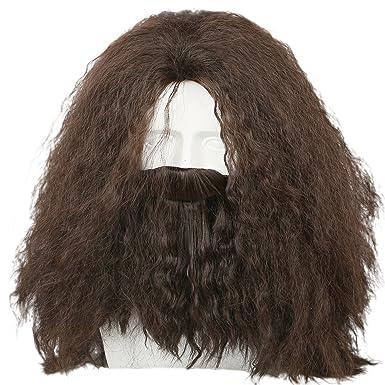 amazon com coslive hagrid wig movie cosplay brown long curly hair