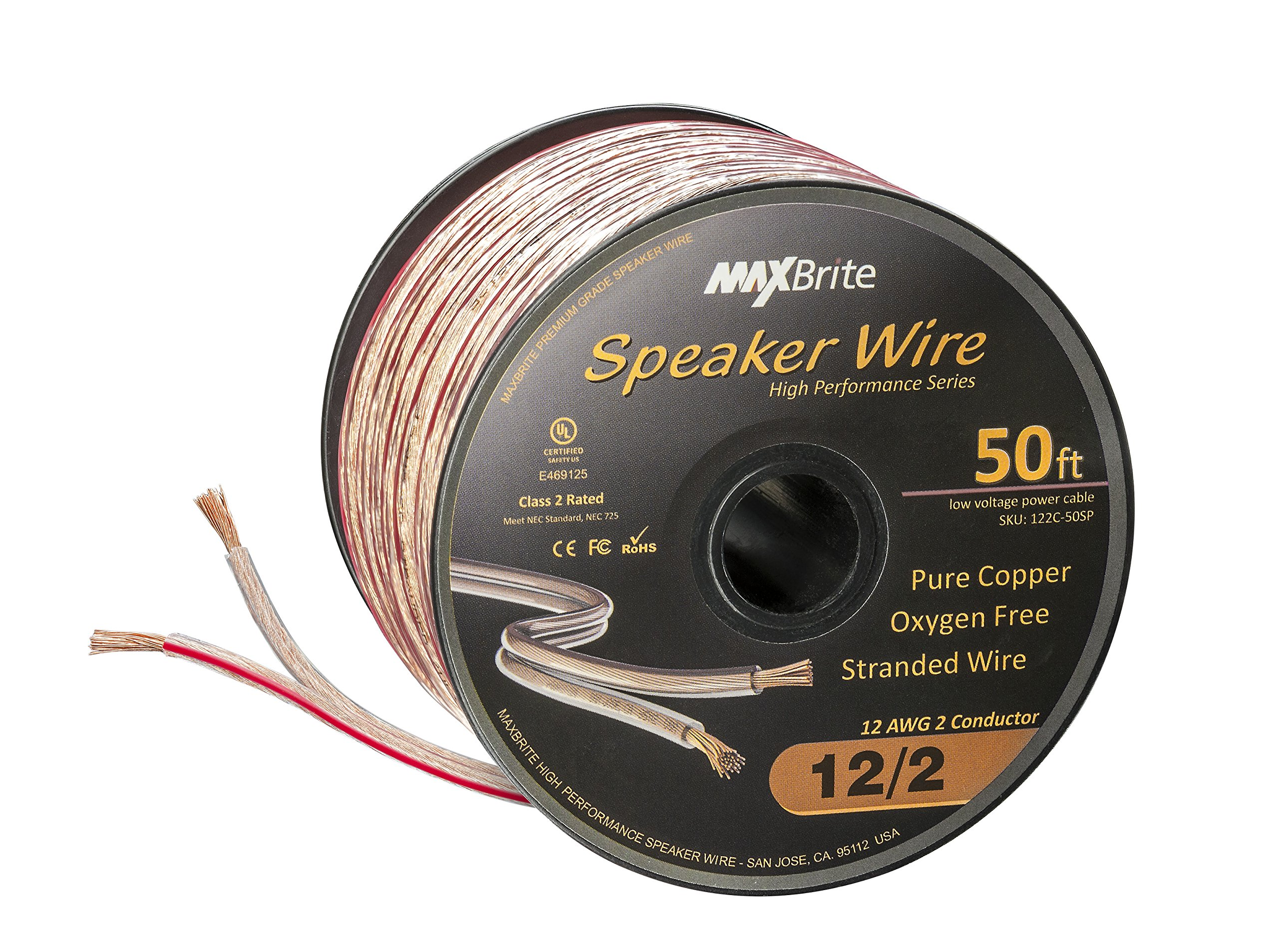 High Performance 12 Gauge Speaker Wire, Oxygen Free Pure Copper - UL Listed Class 2 (50 Feet Spool) by MaxBrite