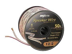 High Performance 12 Gauge Speaker Wire, Oxygen Free Pure Copper - UL Listed Class 2 (50 Feet Spool)