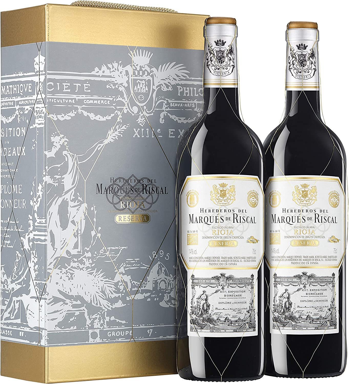 Marqués de Riscal - Vino Tinto Reserva D.O. Rioja - Estuche 2 Botellas x 750 ml - Total: 1500 ml