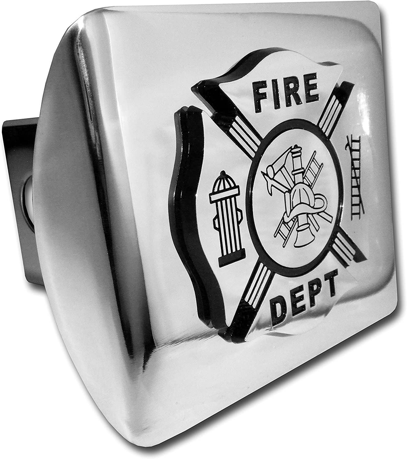 All Metal Shiny Chrome Hitch Cover Firefighter Chrome /& Black