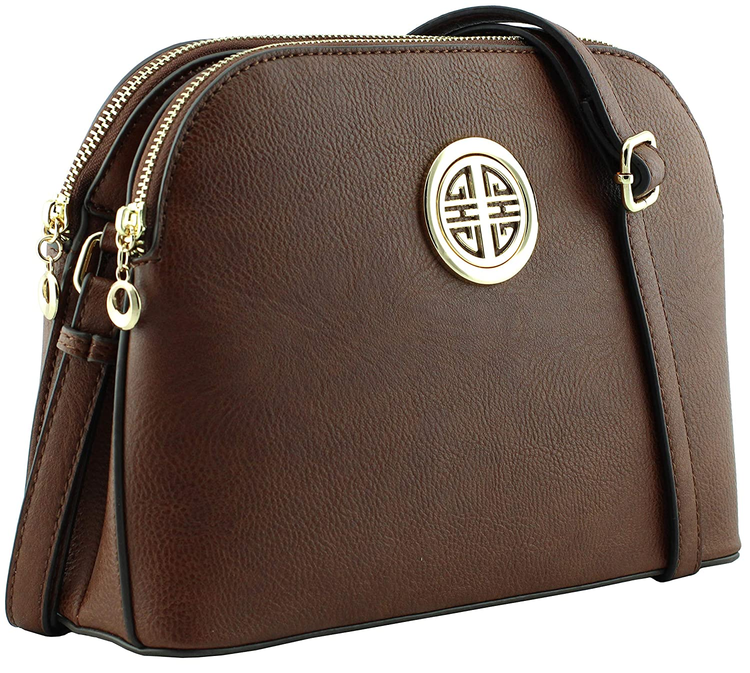 Coffee Multi pockets functional dome shape cross body bag with gold tone emblem