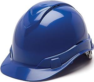 Pyramex Ridgeline Cap Style Hard Hat, Vented, 4-Point Ratchet Suspension, Blue