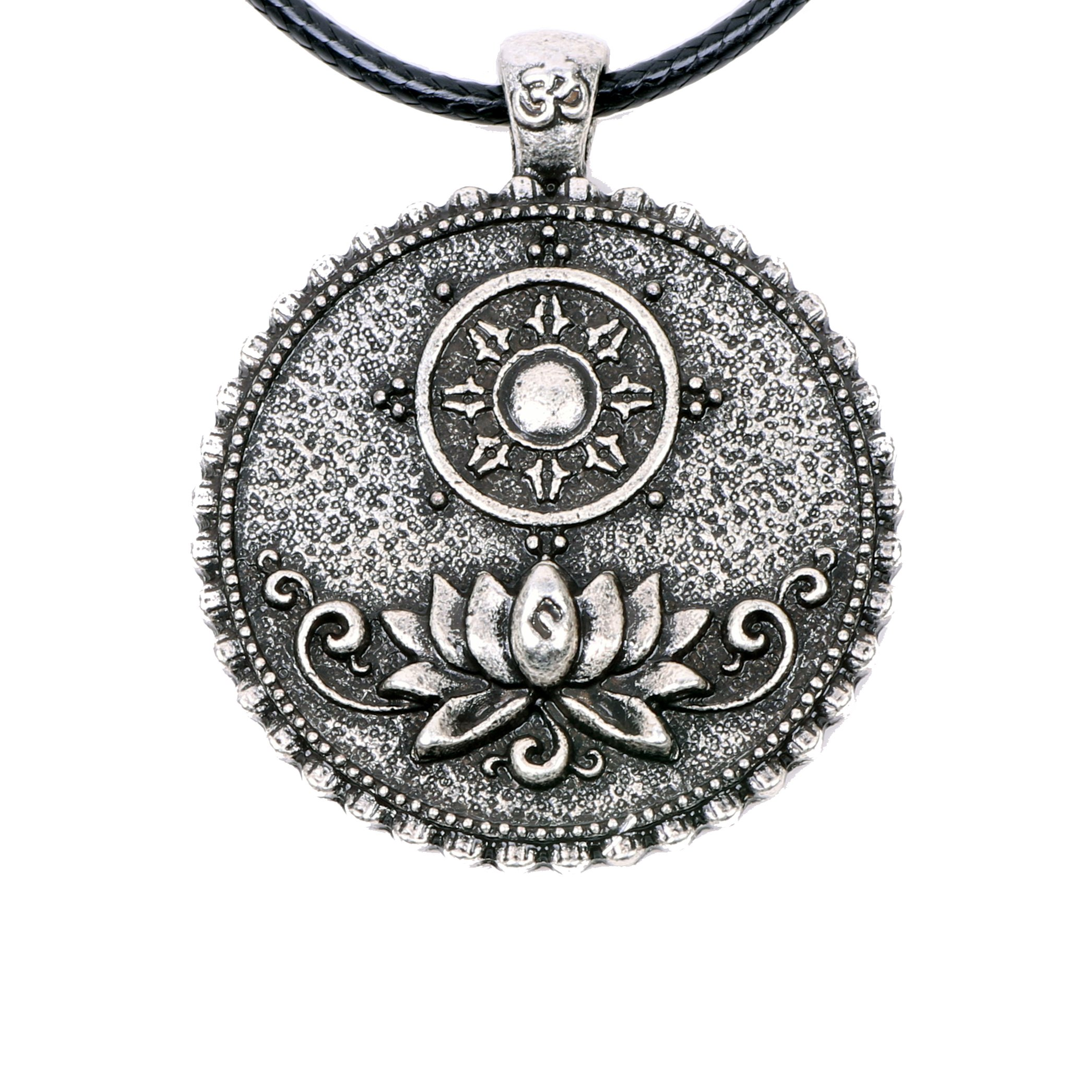 Paw Paw House Om Lotus Mandala Necklace Pendant Tibetan Buddhist Dharma Wheel Meditation Yoga Inspired Bohemian Boho Jewelry