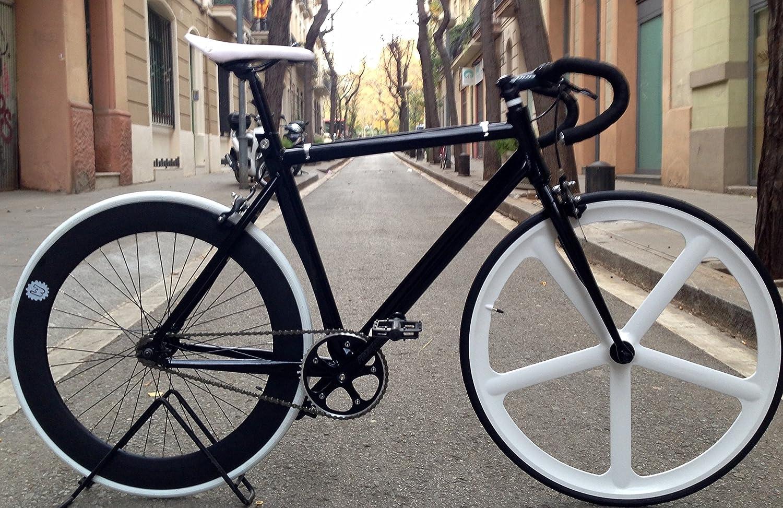 MOWHEEL Bicicleta Fixie-navi 5 Pista White.Monomarcha Fixie/Single Speed.: Amazon.es: Deportes y aire libre
