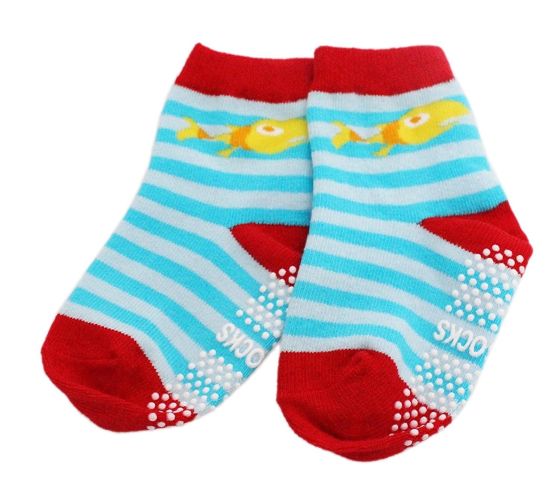 Fun Socks 6-pack Baby Kids Boys Cotton Rich Non-slip Sea Creature Striped Socks