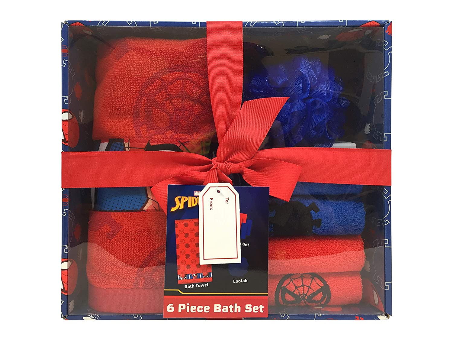 Super Soft /& Absorbent Fade Resistant Cotton Terry Towel Set Washcloth /& Loofah Jay Franco Marvel Spiderman Kids 6 Piece Bath Towel Official Marvel Product