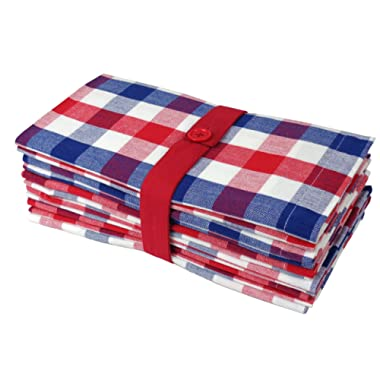 Cotton Craft 12 Pack Gingham Checks Oversized Dinner Napkins - Red-White-Blue - Size 20x20-100% Cotton - Tailored with mitered corners and a generous hem - Easy care machine wash