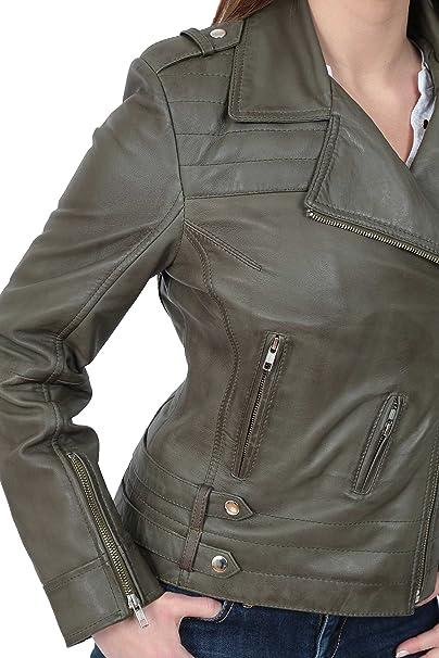 A1 FASHION GOODS Young Damen Fitted Leder Leder Biker X-Zip Mode Jacke  Beverly Olivgrün  Amazon.de  Bekleidung 24f18f0b39