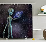 Outer Space Decor Shower Curtain by