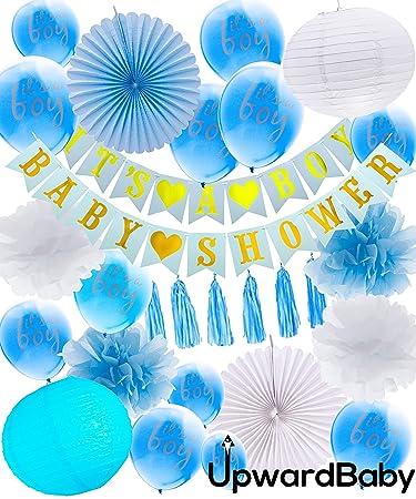 Amazon Upwardbaby Baby Shower Decorations For Boy Complete