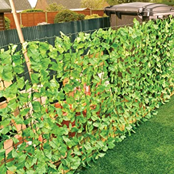 3 Metre Fence With Leaf Decoration   3m X 1m Garden Privacy Barrier /  Screening Divider