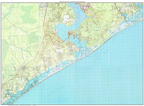 Amazon.com: Topsail Island, New River, and the North ... on topsail island nc beach, map of topsail island nc, map of topsail island north carolina beaches, map of topsail nc area,