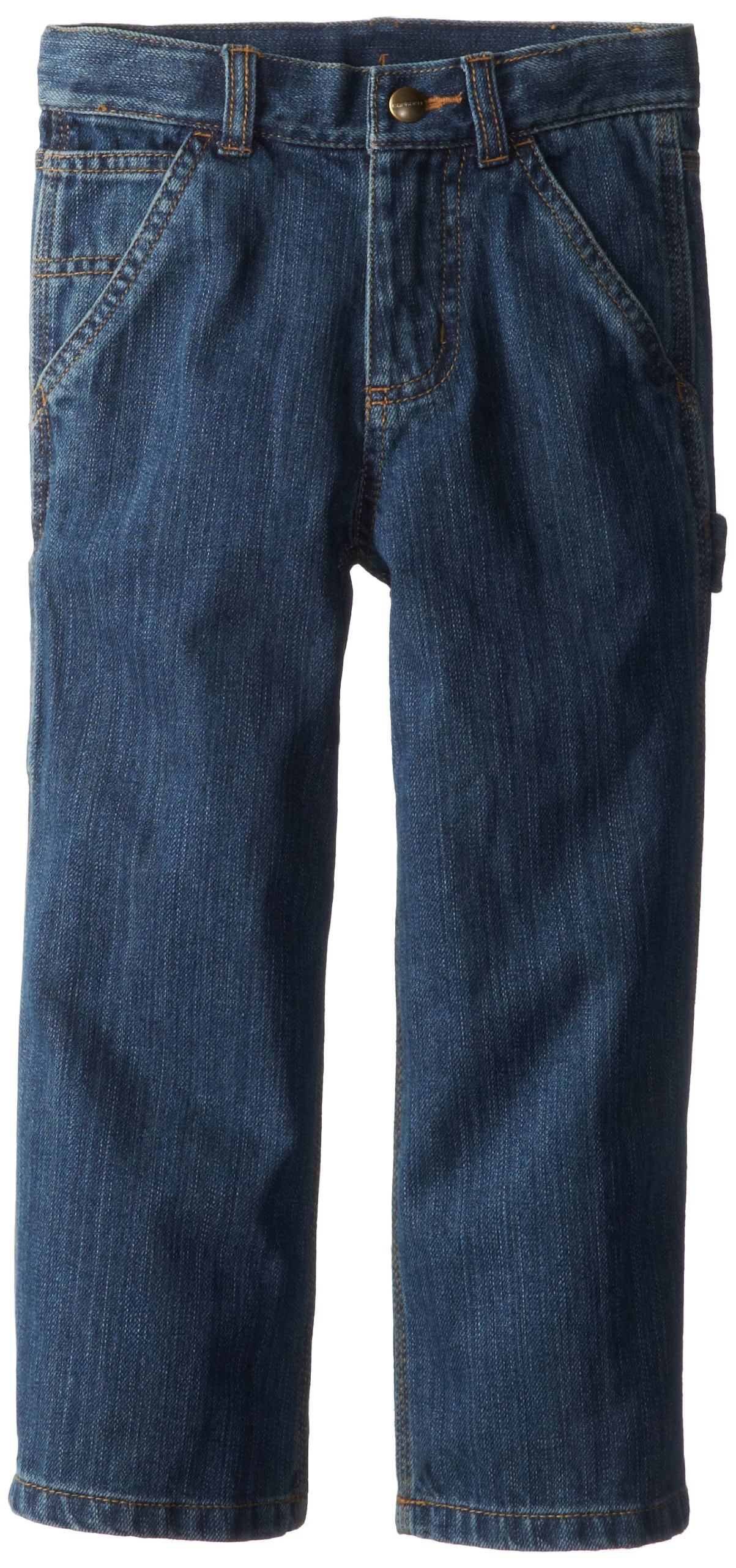 Carhartt Little Boys' Washed Denim Dungaree Jeans, Worn In Blue, 7