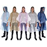 Furry Smile Rain Poncho Family Pack of 5: Ponchos for Adults, Women, Men. Waterproof Rain Gear with Drawstring: Emergency Disposable Rain Ponchos in Pink, Blue, Navy, Silver, Gold: Thicker Material