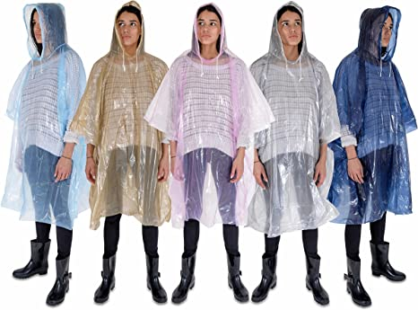 Amazon Com Rain Poncho Family Pack Of 5 Ponchos For Adults Women Men Waterproof Rain Gear With Drawstring Emergency Disposable Rain Ponchos In Pink Blue Navy Silver Gold Thicker Material Clothing