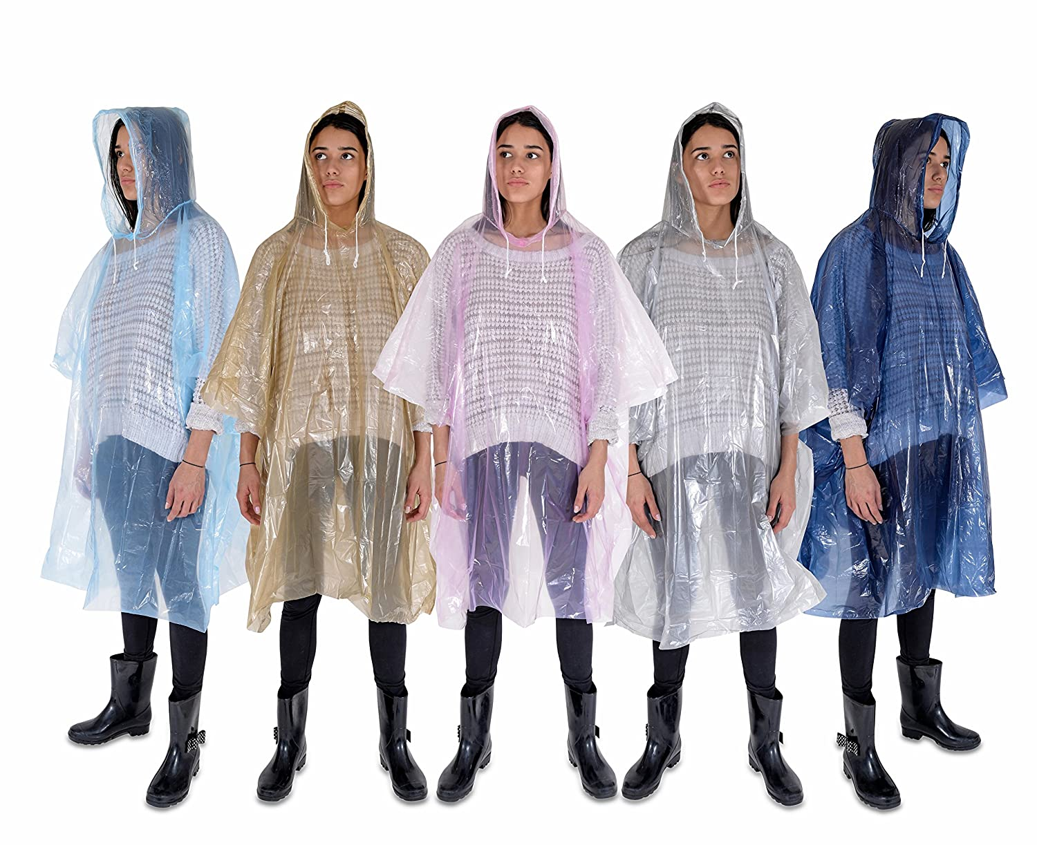 Rain Poncho: Lightweight, Waterproof Rain Gear with Drawstring Hood: 5 Pack: Emergency Disposable Rain Ponchos in Pink, Blue, Navy, Silver & Gold: Thicker Material and Packable Furrysmile